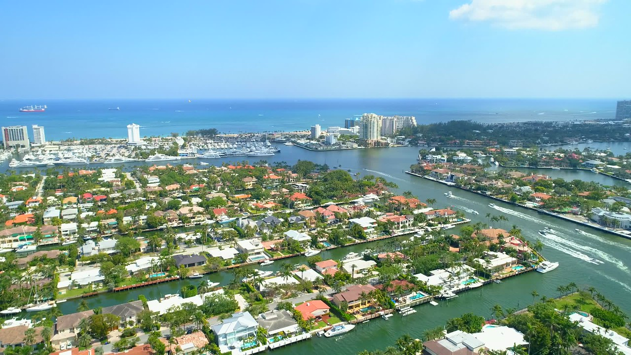 Luxury Fort Lauderdale homes Florida aerial drone footage