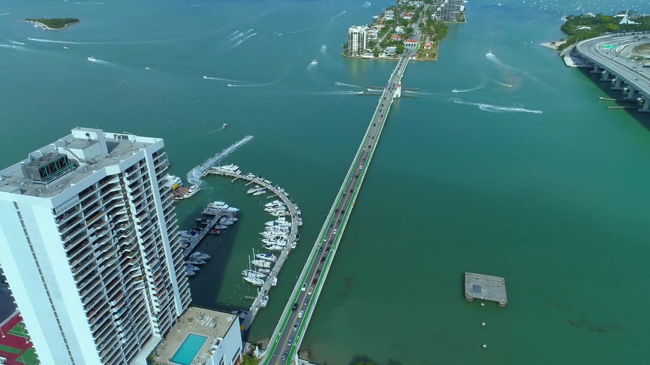 Drone aerial Venetian Causeway Miami