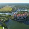 Aerial luxury waterfront condominiums Florida