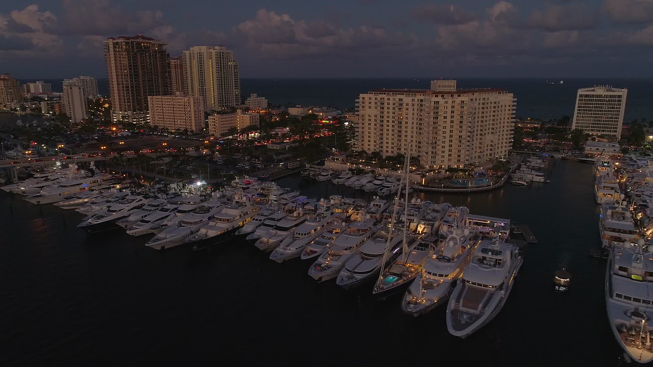 Night Fort Lauderdale boat show aerials 4k