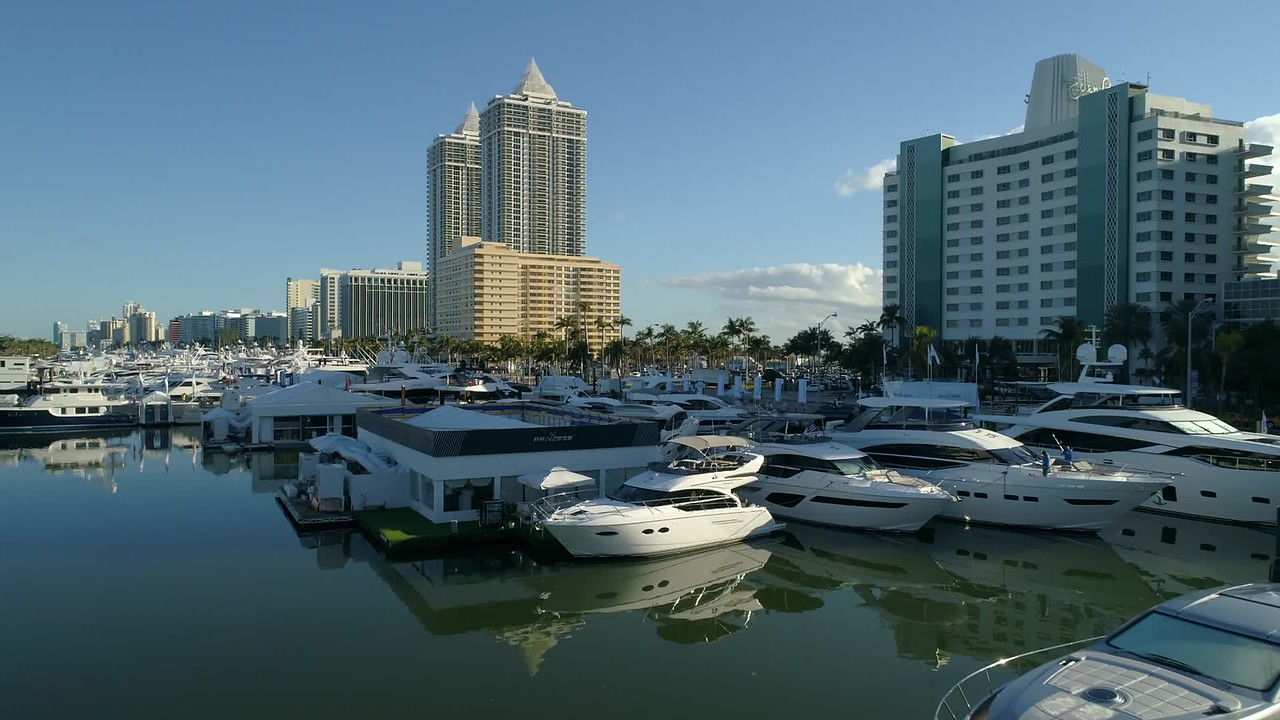 Aerial slow motion video Miami Beach boat show