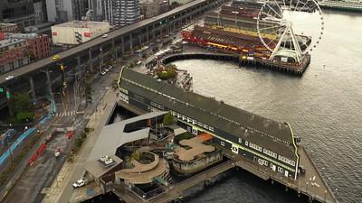 Seattle Aquarium pier aerial video