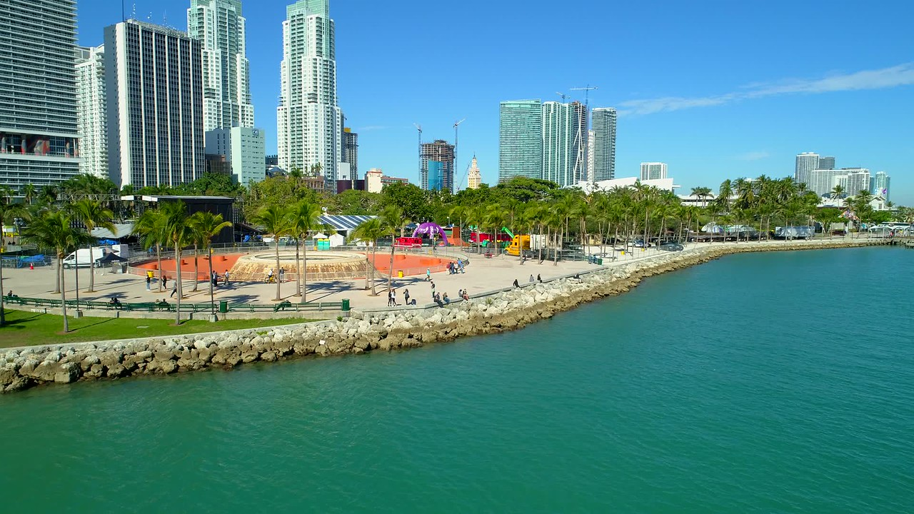 Aerial video Downtown Miami Bayfront Park New Years celebration setup