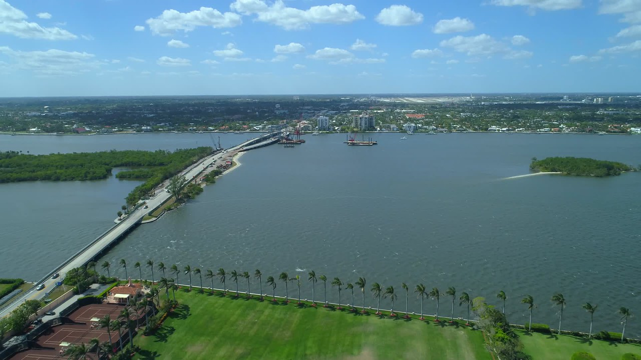 Aerial video Intracoastal Waterway Lake Worth Lagoon