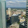 Aerial drone flying between buildings Downtown Tampa FL 4k 60p