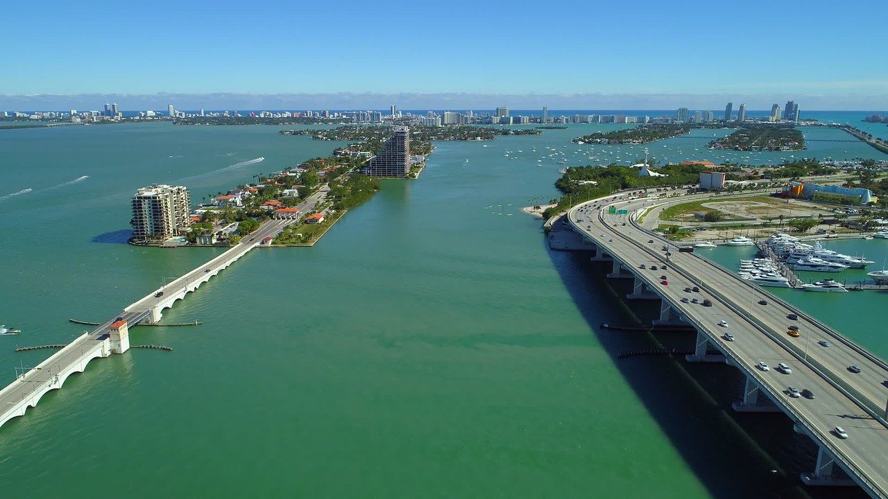Aerial scenic footage Miami bay view islands boats tropical water