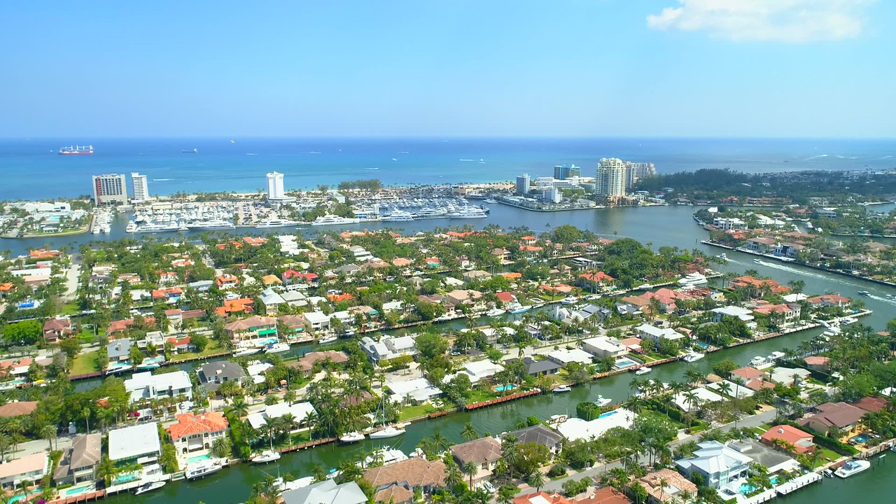 Coastal Fort Lauderdale residential landscape stock footage