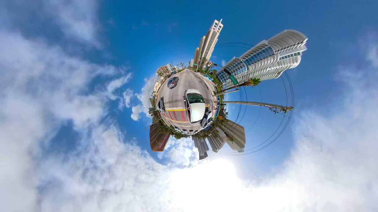 Hyperlapse tiny planet motion driving video aerial view