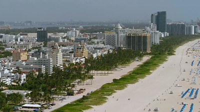 Narrow telephoto aerial drone video Miami Beach Florida 4k
