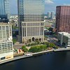 Aerial video Tampa Florida riverfront district Sheraton Hotel 4k 60p