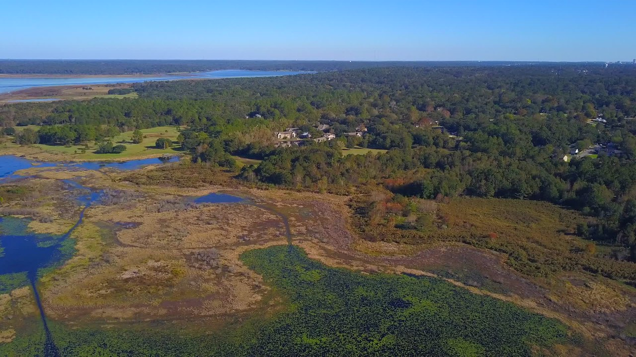 Aerial drone video Tallahassee landscape and neighborhoods
