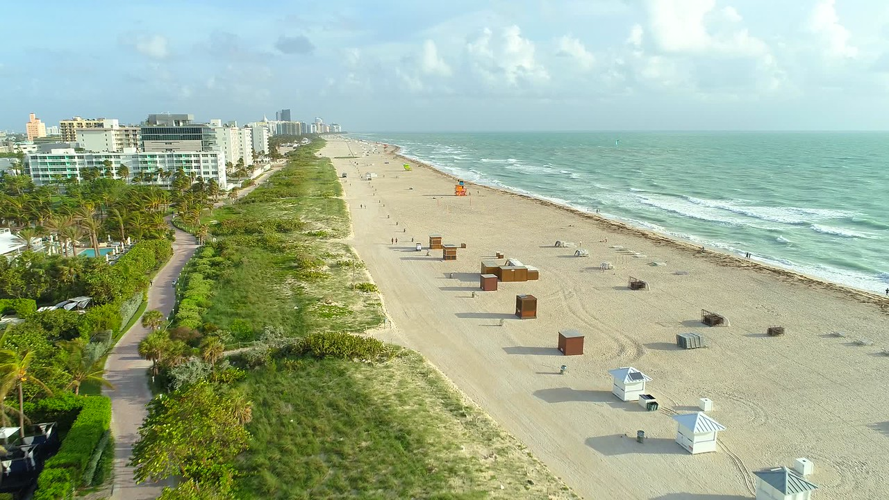 Aerial video early morning Miami Beach FL