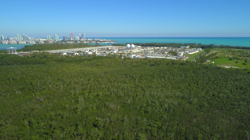 Aerial video Virginia Key Biscayne Central District Treatment Plant 4k