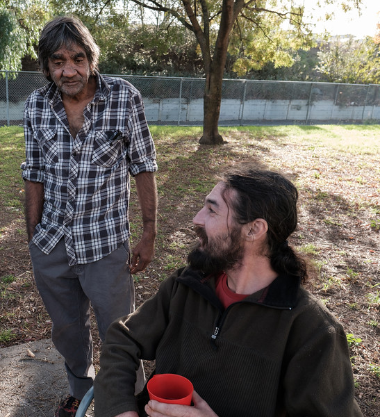 Men interacting outdoors