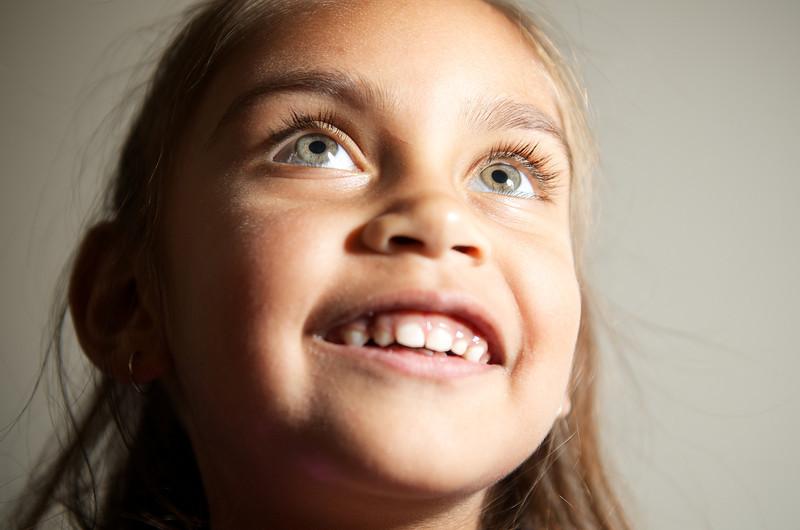 Little Aboriginal Girl Looking Upwards