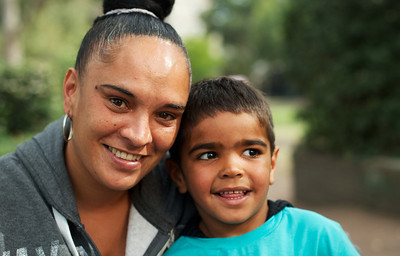 Aboriginal Woman and Four-Year-Old Boy