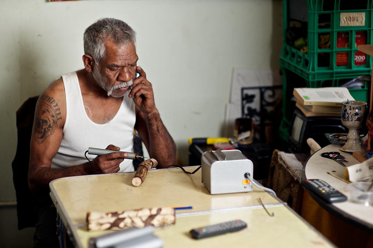 Aboriginal artist at work