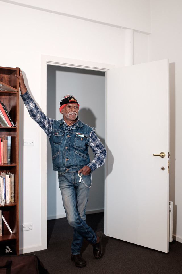 Indigenous Australian Man standing in Doorway