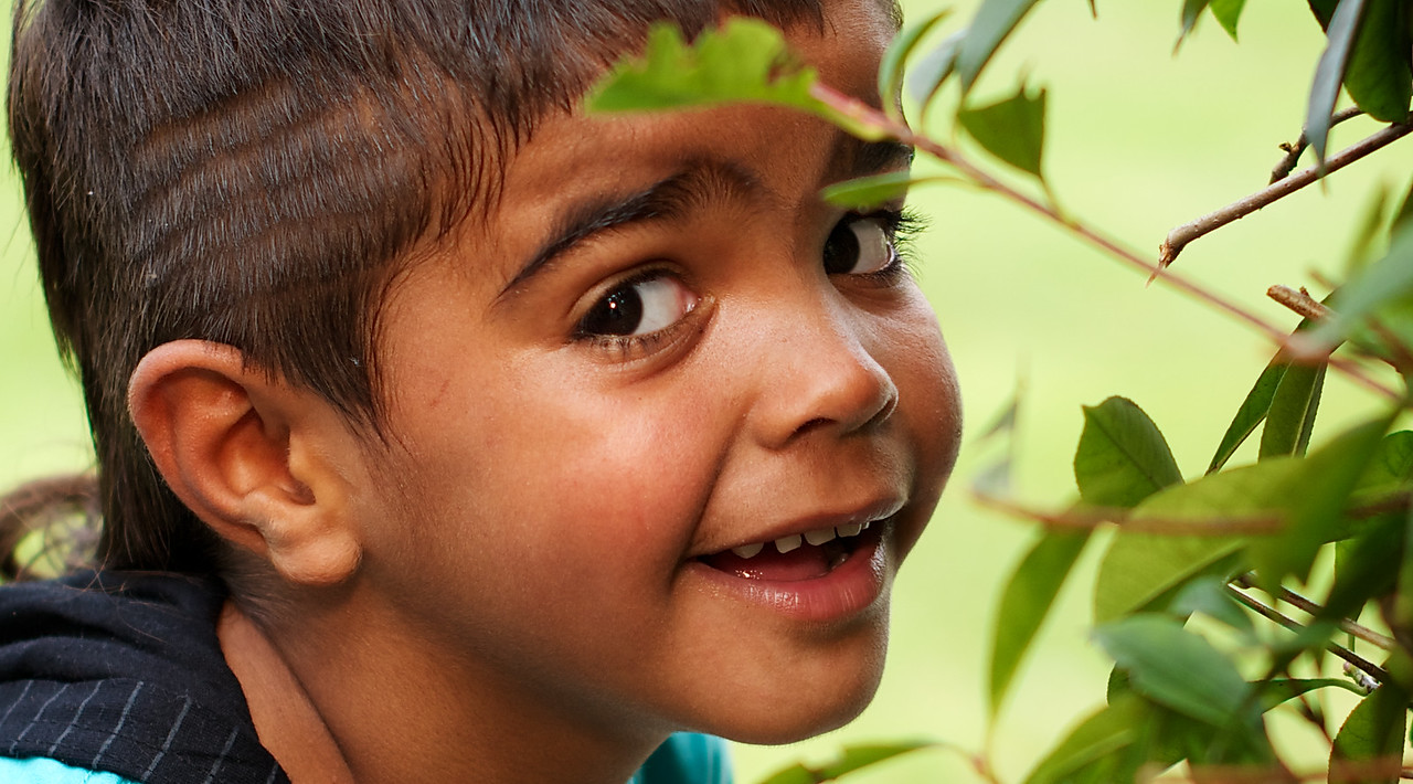 Four-Year-Old Indigenous Australian Boy with a Cheeky Expression