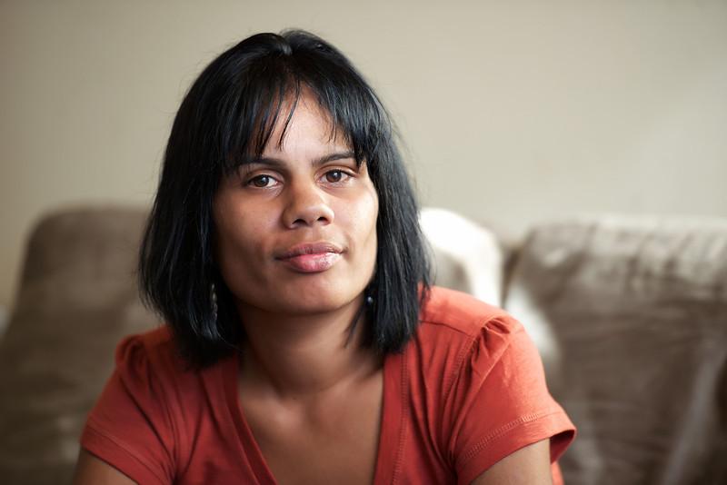 Indigenous Australian Woman leaning forward