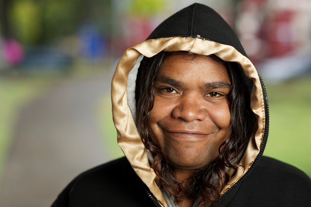 Indigenous Australian Woman with a Hoodie