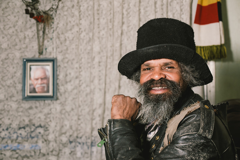 Aboriginal Man with a Beard and Black Hat