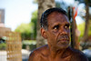 This man was photographed outdoors on a hot Australian day