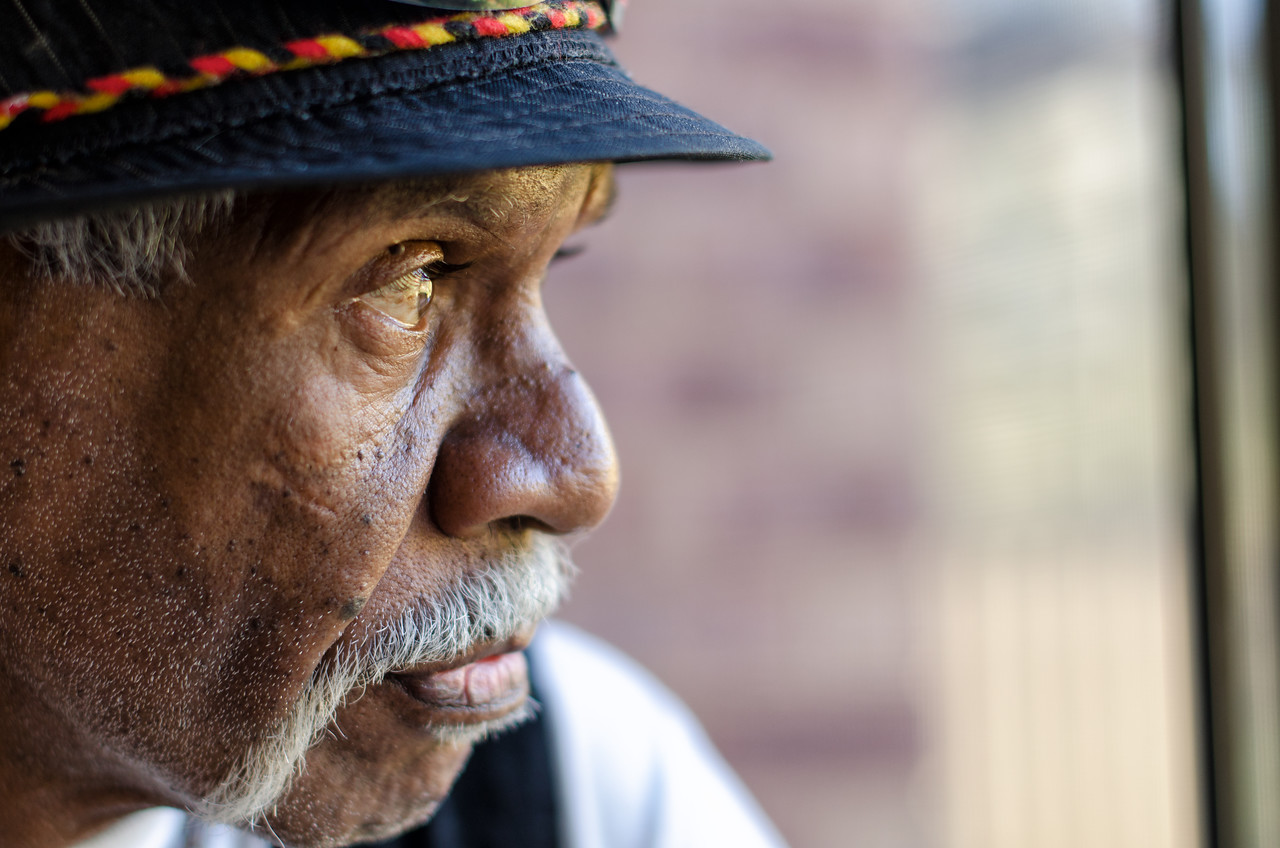Close up profile of a Wurundjeri Elder
