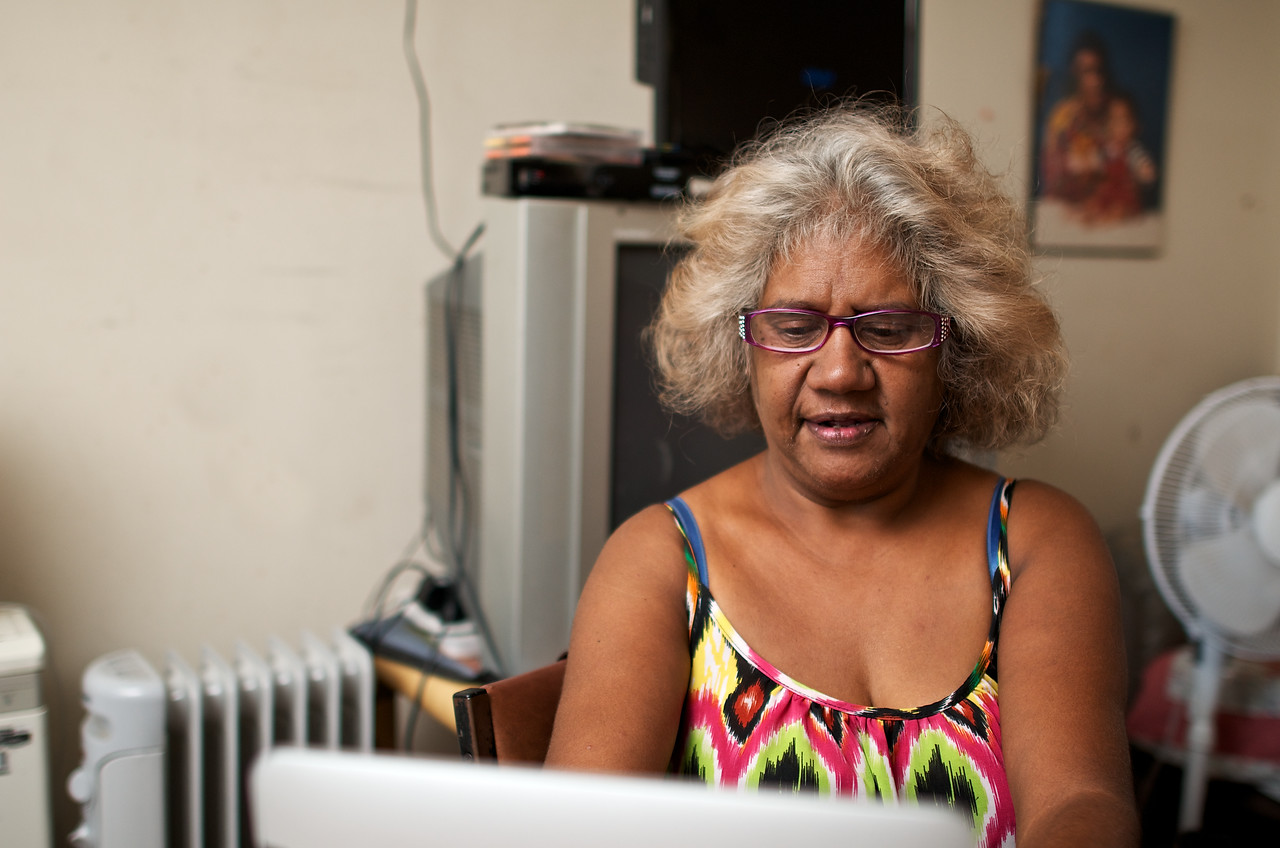 Aboriginal Woman Working on a Laptop Computer