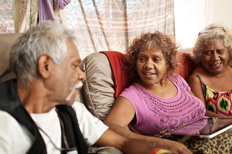 Three Indigenous Australian Adults relaxing at Home