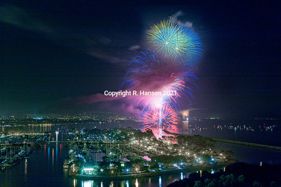 Dana Point Aerial 16, Fireworks over harbor