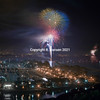 Dana Point aerial 15, Fireworks over the harbor