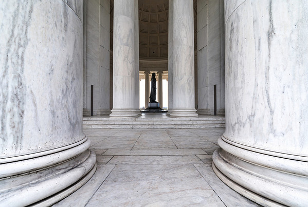 """""""Pillars of Freedom"""" - Jefferson Memorial, Washington, D.C.   Recommended Print sizes*:  4x6      8x12     12x18     16x24     20x30     24x36 *When ordering other sizes make sure to adjust the cropping at checkout*  © JP Diroll 2014"""