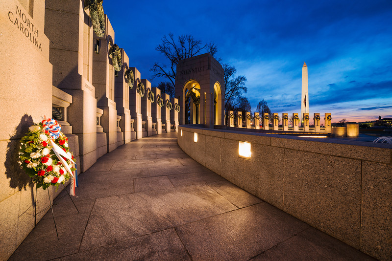 """""""Dawn's Early Light"""" - World War II Memorial, Washington, D.C.   Recommended Print sizes*:  4x6      8x12     12x18     16x24     20x30     24x36 *When ordering other sizes make sure to adjust the cropping at checkout*  © JP Diroll 2014"""