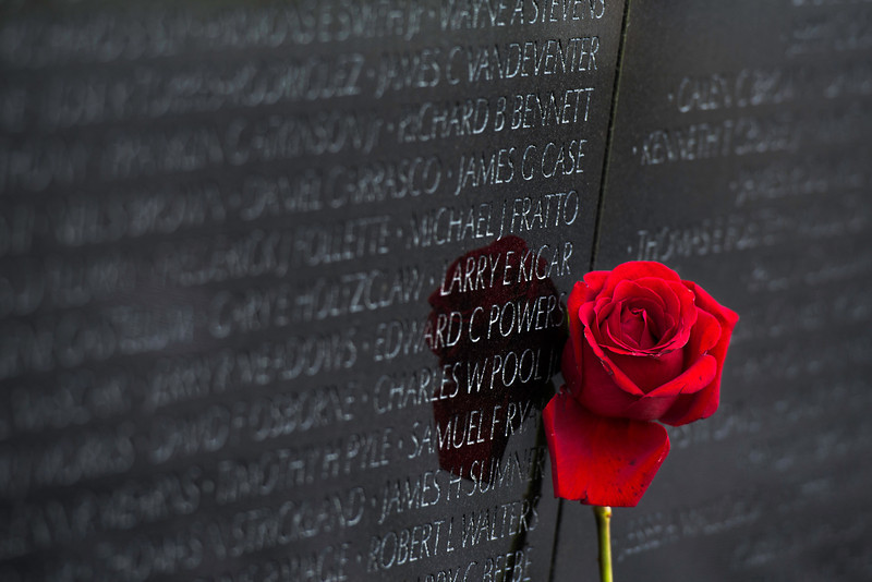 """""""Rose"""" - Vietnam Memorial Wall, Washington, D.C.   Recommended Print sizes*:  4x6      8x12     12x18     16x24     20x30     24x36 *When ordering other sizes make sure to adjust the cropping at checkout*  © JP Diroll 2014"""
