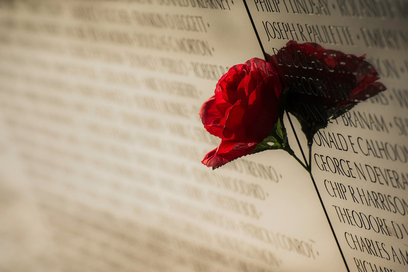 """""""Hero's Rose"""" - Vietnam Memorial Wall, Washington, D.C.   Recommended Print sizes*:  4x6      8x12     12x18     16x24     20x30     24x36 *When ordering other sizes make sure to adjust the cropping at checkout*  © JP Diroll 2014"""