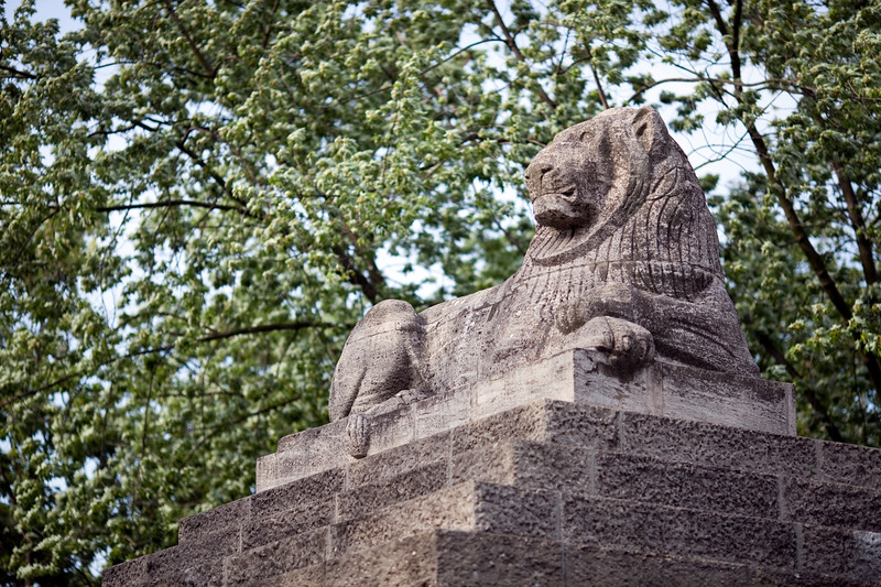 Stone lion at the entrance of Berlin zoo, Germany
