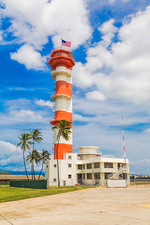 Red and White Control Tower
