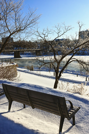 Bench along the River in Winter