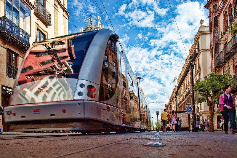 Low angle view of a streetcar, Constitution Avenue, Seville, Spain