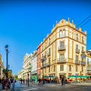 Avenida de la Constitucion (left) and Alemanes (right) street corner, Seville, Spain