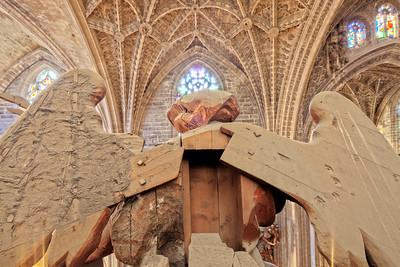 Wooden angel on the top of the organ, Santa Maria de la Sede Cathedral, Seville, Spain