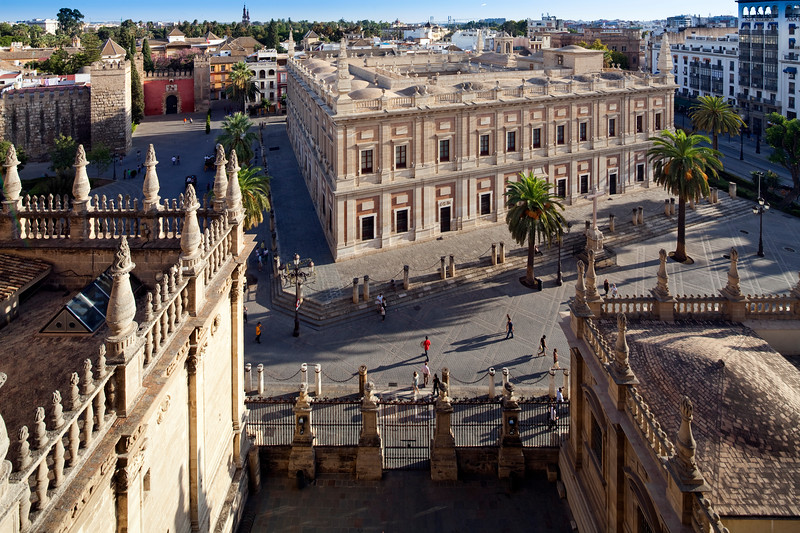 The Archivo de Indias as seen from the roof of Santa Maria de la Sede Cathedral, Seville, Spain