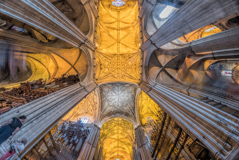Low angle view of the transept of Santa Maria de la Sede Cathedral, Seville, Spain