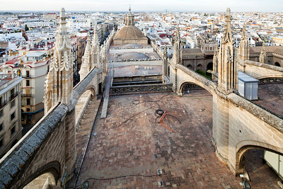 Flying buttresses on the roof of Santa Maria de la Sede Cathedral, Seville, Spain