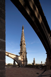 Gothic flying buttress and pinnacle on the roof of Santa Maria de la Sede Cathedral, Seville, Spain