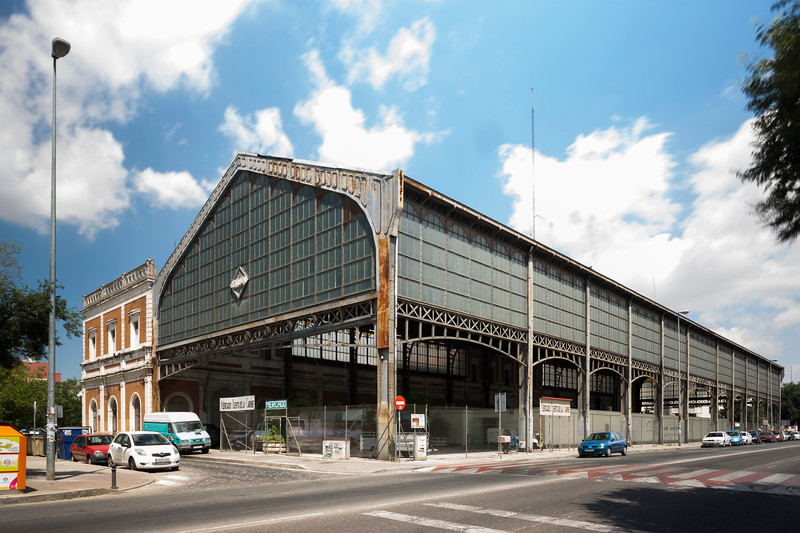 Former San Bernardo railroad station, a municipal marketplace nowadays, Seville, Spain