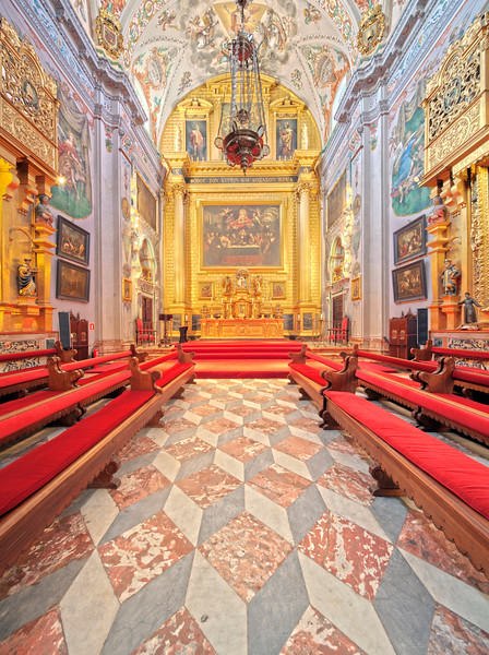 Interior of the church of Hospital de los Venerables Sacerdotes, Seville, Spain
