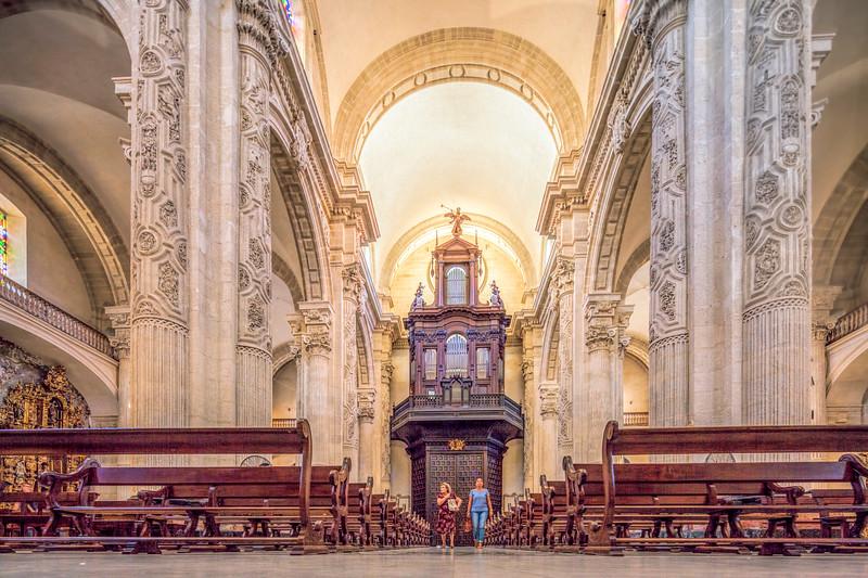 The baroque nave of El Divino Salvador collegiate church, Seville, Spain