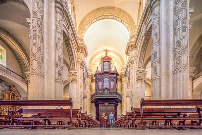 The baroque nave of El Divino Salvador collegiate church, Seville, Spain